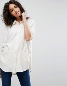 Свободная саржевая рубашка ASOS - Бежевый