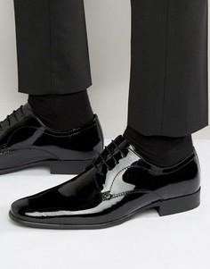 Оксфордские туфли из бордовой лакированной кожи Red Tape - Черный