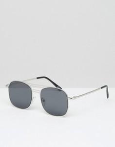 Квадратные солнцезащитные очки ASOS - Серебряный