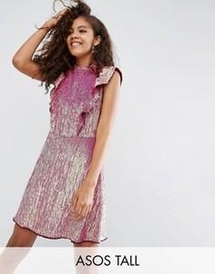 Платье мини с оборками и пайетками ASOS TALL - Мульти