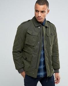 Куртка в стиле милитари со стеганой отделкой Esprit - Зеленый