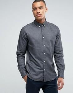 Рубашка узкого кроя с воротником на пуговицах и длинными рукавами Esprit - Серый