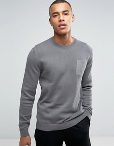 Джемпер с круглым вырезом и карманом Esprit - Серый