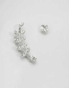 Кафф и серьга-гвоздик с кристаллами Swarovski Krystal - Серебряный