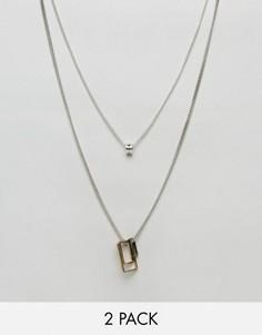 2 ожерелья с геометрическими подвесками Icon Brand - Серебряный