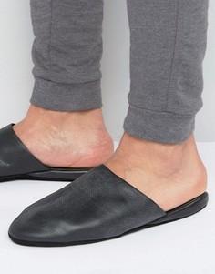 Кожаные тапочки в чехле Lyle & Scott - Черный