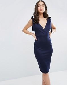 Платье-футляр миди с бантом Club L - Темно-синий
