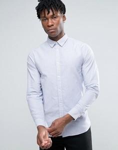 Узкая оксфордская рубашка в полоску с длинными рукавами Selected Homme - Синий
