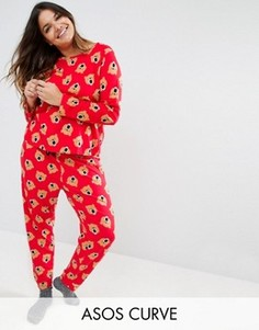 Пижамный комплект из лонгслива и штанов с принтом медведя ASOS CURVE - Красный