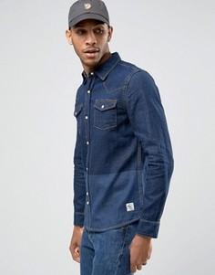 Джинсовая рубашка с принтом колор блок Bellfield - Темно-синий