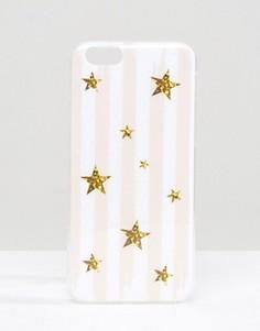 Чехол для iPhone 6 с полосками и блестящими звездами Signature - Розовый