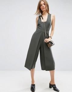 Комбинезон с юбкой‑брюками с запахом ASOS - Зеленый