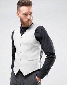 Светло-серый жилет скинни с добавлением шерсти ASOS - Серый