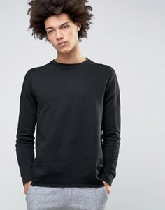 Свитшот с круглым вырезом и отделкой в рубчик на рукавах Selected Homme - Черный