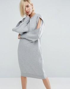 Трикотажное платье с разрезами на рукавах ASOS WHITE - Серый