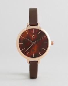 Часы с тонким ремешком и большим циферблатом ASOS - Коричневый