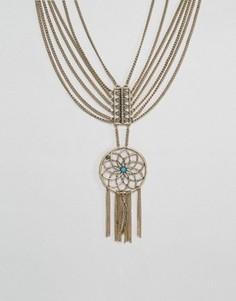 Броское ярусное ожерелье с ловушкой снов Ashiana - Золотой