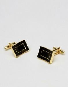 Золотистые запонки с черной эмалью ASOS - Золотой