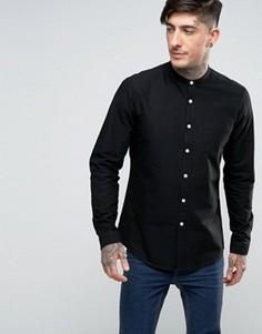 Черная оксфордская рубашка классического кроя с длинными рукавами ASOS - Stone