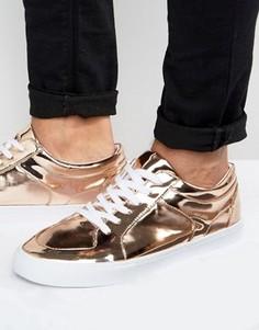 Кроссовки медно-золотистого цвета металлик на шнуровке ASOS - Медный