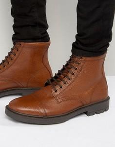 Светло-коричневые ботинки на шнуровке из кожи с тиснением ASOS - Рыжий