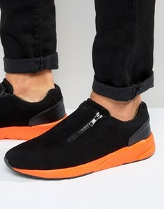 Черные кроссовки из искусственной замши на молнии с оранжевой подошвой ASOS - Черный