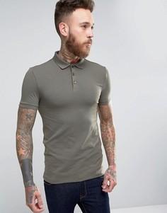 Облегающая футболка-поло ASOS - Зеленый