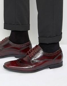 Блестящие кожаные броги Base London Harold - Красный