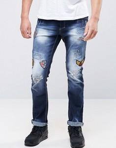 Рваные узкие джинсы с заплатками Juice - Синий