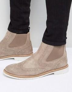 Замшевые ботинки с перфорацией в стиле броги Tommy Hilfiger Metro - Stone