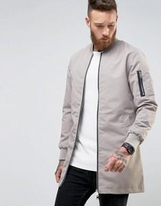 Длинная куртка на молнии Brave Soul - Серый