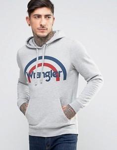Худи с принтом в стиле ретро и логотипом Wrangler - Серый