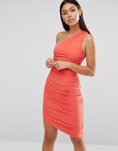 Облегающее платье на одно плечо AX Paris - Розовый