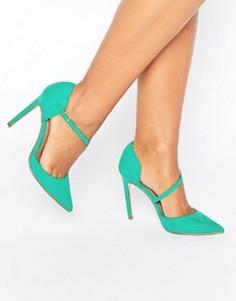 Асимметричные остроносые туфли на высоком каблуке ASOS PETAL - Зеленый