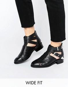 Кожаные ботинки для широкой стопы с вырезом ASOS ARABELLA - Черный