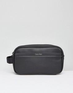 Черный кожаный несессер Calvin Klein Elias - Черный