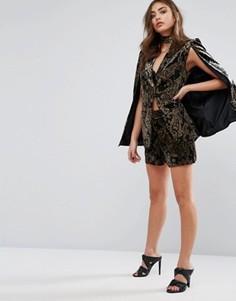 Эксклюзивные комбинируемые бархатные шорты с принтом пейсли Missguided - Черный