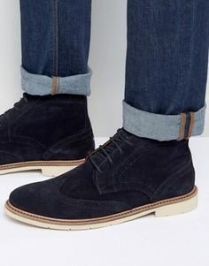 Замшевые ботинки-броги на шнуровке Tommy Hilfiger Metro - Темно-синий