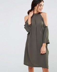 Oversize-платье миди с вырезами на плечах Liquorish - Зеленый