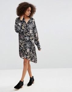 Платье-рубашка с цветочным принтом Only - Черный