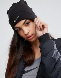 Шапка-бини с логотипом-галочкой Nike - Черный