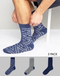 3 пары толстых носков с махровой отделкой ASOS - Темно-синий