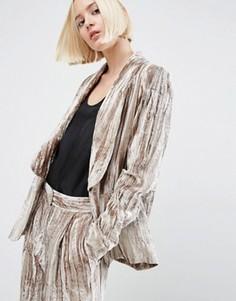 Пиджак из мятого бархата ASOS WHITE - Серый