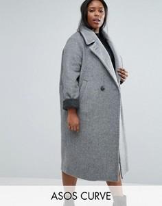 Пальто-кокон с контрастными манжетами ASOS CURVE - Серый