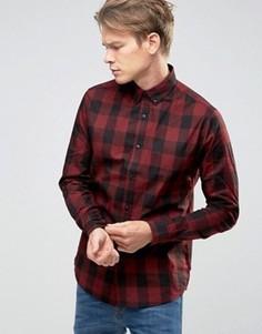 Рубашка в клетку на пуговицах Only & Sons - Красный