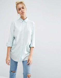Свободная саржевая рубашка ASOS - Синий