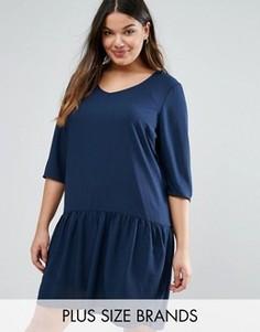 Платье с рукавами 3/4 и оборкой по краю Junarose Plus - Темно-синий