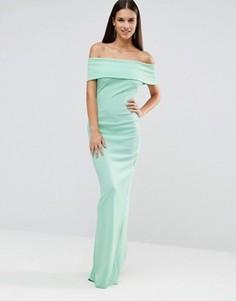 Платье макси бандо с разрезом City Goddess - Зеленый