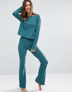Зауженные брюки в рубчик с клешем ASOS LOUNGE - Зеленый