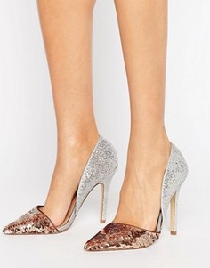 Туфли на каблуке с эффектом металлик Miss KG Andi - Серебряный